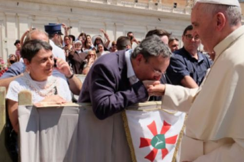 Albastar presents their Standard for Papal Blessing. New Rome Lourdes Flights to start on June 22nd