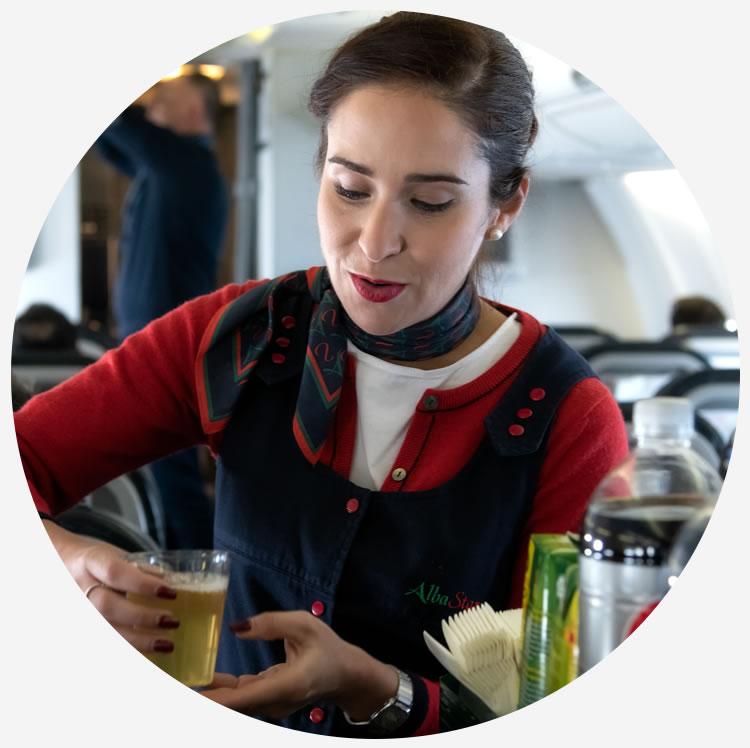 ristorazione a bordo dei voli Albastar